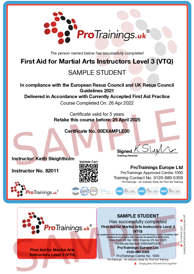 Sample First Aid for Martial Arts Instructors Level 3 (VTQ) Classroom Certificate