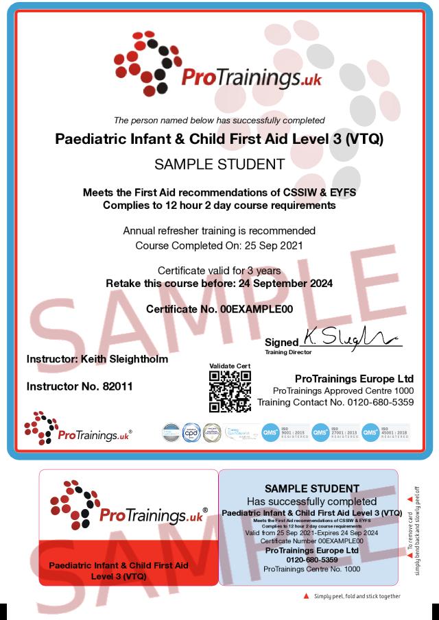 Sample Paediatric First Aid for Montessori Schools Classroom Certificate