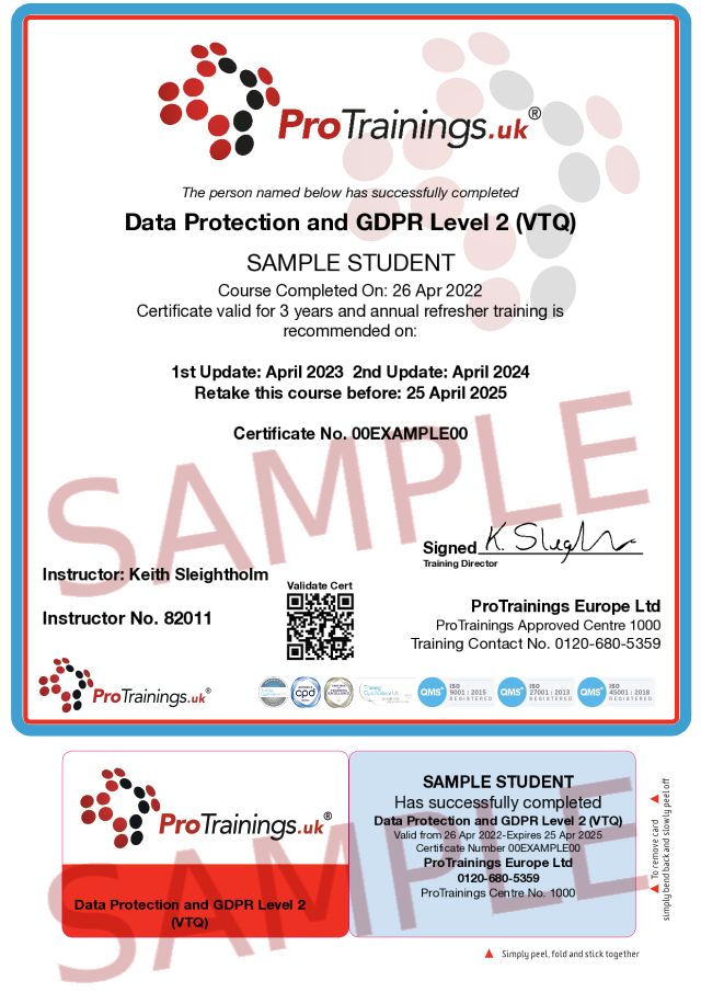 Sample Data Protection and GDPR Level 2 (VTQ) Classroom Certificate