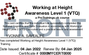 Sample Working at Height Awareness Level 1 (VTQ) Card Front
