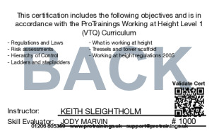 Sample Working at Height Awareness Level 1 (VTQ) Card Back