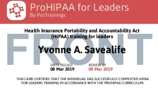 Sample HIPAA for Leaders Card Front