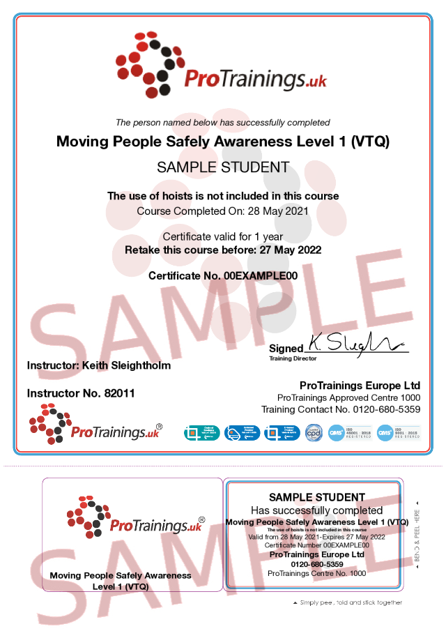 Sample Moving People Safely Awareness Level 1 (VTQ) Classroom Certificate