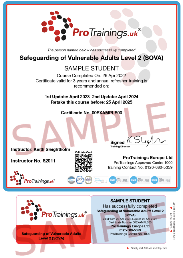 Sample Safeguarding of Vulnerable Adults (SOVA) Level 2 (VTQ) Classroom Certificate