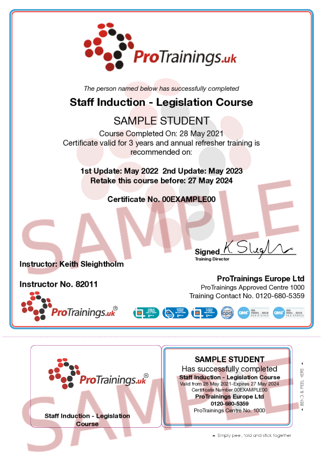 Sample Staff Induction Classroom Certificate