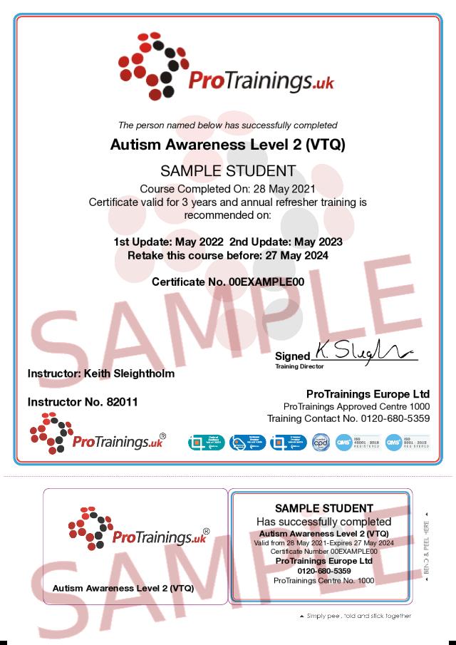 Sample Autism Classroom Certificate