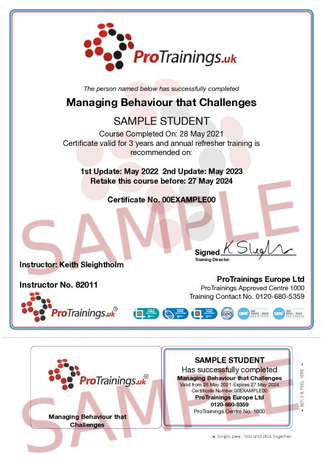 Sample Managing behaviour that Challenges Classroom Certificate