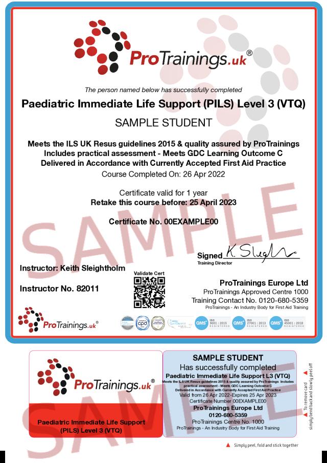 Sample Paediatric Immediate Life Support (PILS) Classroom Certificate