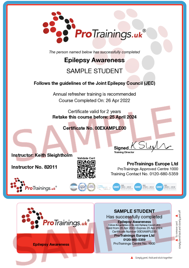Sample Epilepsy Awareness (VTQ) Classroom Certificate
