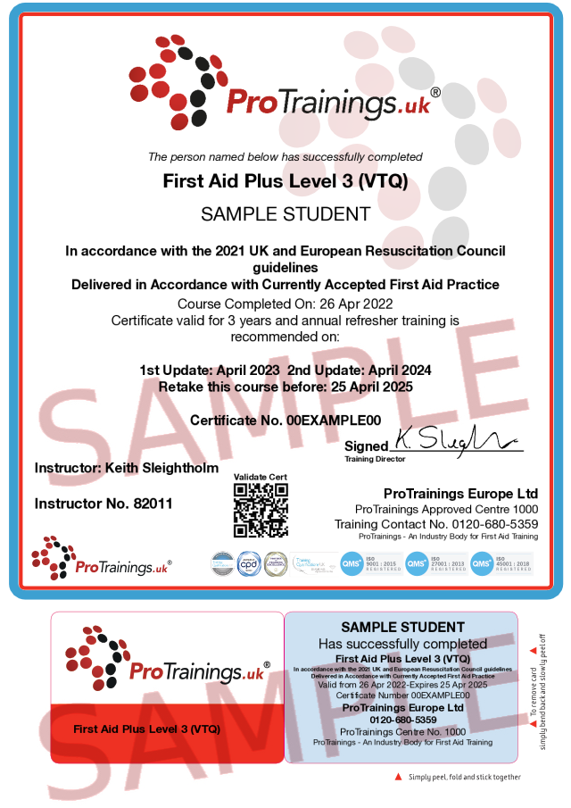 Sample First Aid Plus Level 3 (VTQ) Classroom Certificate