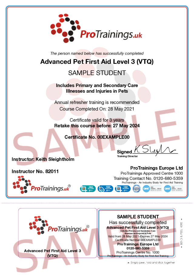 Sample Advanced Pet First Aid Level 3 (VTQ) - Blended part two Classroom Certificate