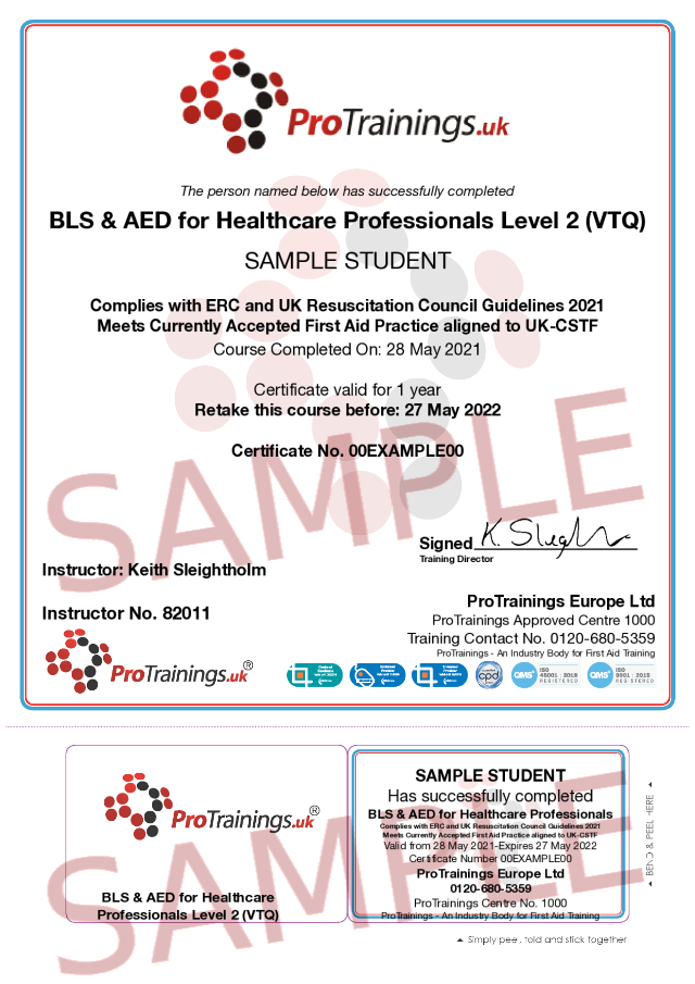 Sample Basic Life Support and AED for Healthcare Professionals - blended part two Classroom Certificate