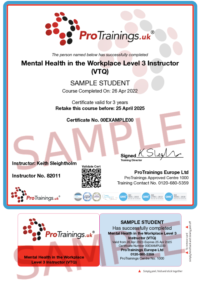 Sample Mental Health in the Workplace Instructor Level 3 (VTQ) Classroom Certificate