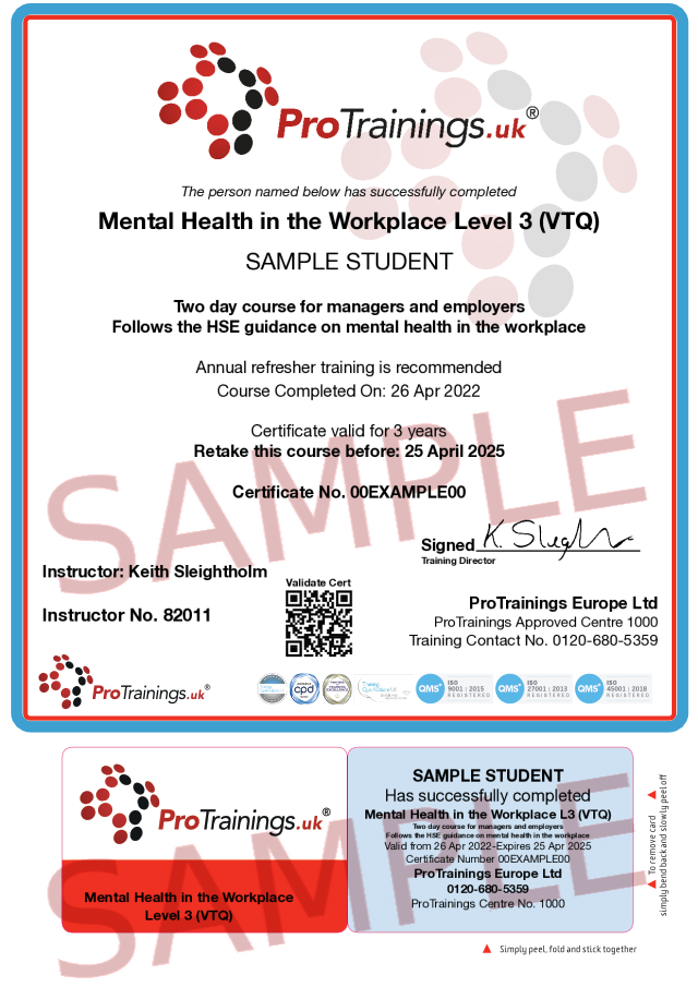 Sample Mental Health in the Workplace Level 3 (VTQ) Classroom Certificate