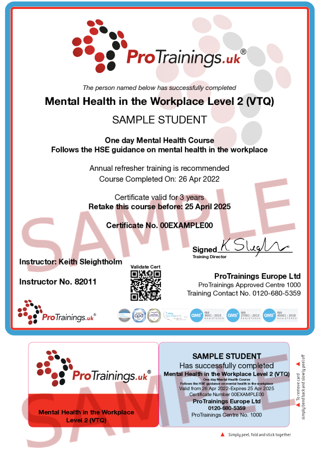 Sample Mental Health in the Workplace Level 2 (VTQ) Classroom Certificate