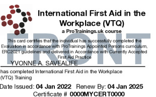 Sample First Aid in the Workplace Card Front