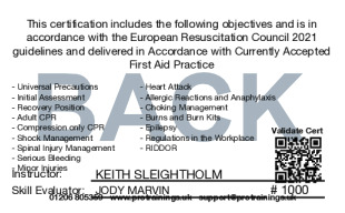 Sample First Aid in the Workplace Card Back