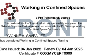 Sample Working in Confined Spaces Card Front