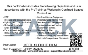 Sample Working in Confined Spaces Card Back