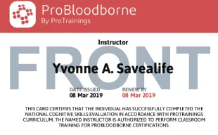 Sample ProBloodborne Instructor Card Front