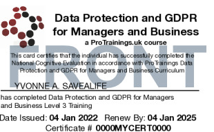 Sample Data Protection and GDPR Level 3 for Managers and Business (VTQ) Card Front