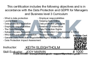 Sample Data Protection and GDPR Level 3 for Managers and Business (VTQ) Card Back