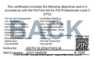 Sample Pet First Aid for Pet Professionals Level 3 (VTQ) Card Back