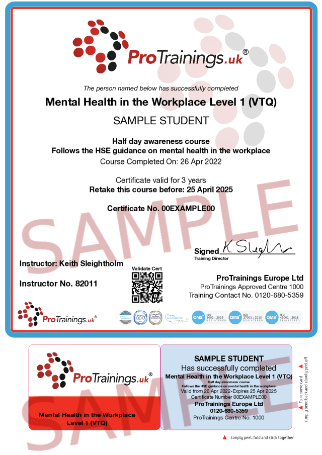 Sample Mental Health in the Workplace Level 1 (VTQ) Classroom Certificate