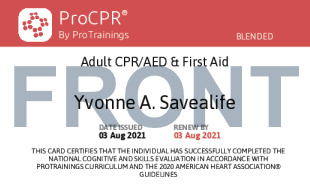 Sample CPR + First Aid for Adults Card Front