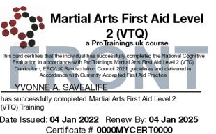 Sample Martial Arts First Aid Card Front