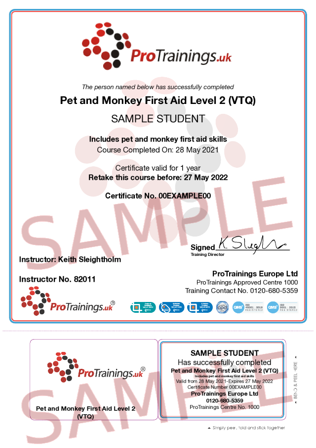 Sample Pet and Monkey First Aid Level 2 (VTQ) Classroom Certificate