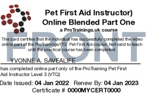 Sample Pet First Aid Instructor Level 3 (VTQ) Blended Part One Card Front