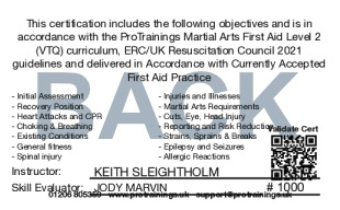 Sample Martial Arts First Aid Card Back