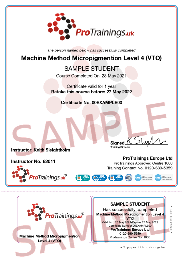 Sample Machine Method Micropigmention Level 4 (VTQ) Classroom Certificate