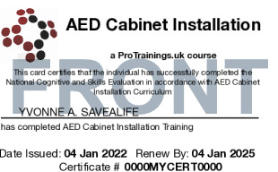 Sample Free AED Cabinet Installation Card Front