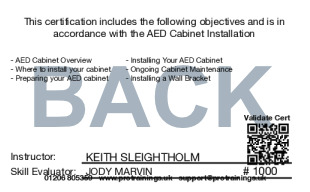 Sample Free AED Cabinet Installation Card Back