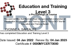 Sample Education and Training Prep Course Card Front
