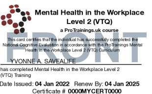 Sample Mental Health in the Workplace Level 2 (VTQ) Card Front