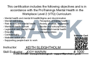 Sample Mental Health in the Workplace Level 2 (VTQ) Card Back