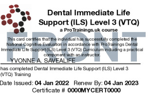 Sample Immediate Life Support for Dentists (ILS) Level 3 (VTQ) Card Front