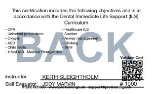Sample Immediate Life Support for Dentists (ILS) Level 3 (VTQ) Card Back