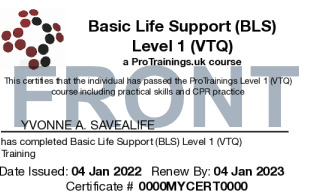 Sample Basic Life Support (BLS) Level 1 (VTQ)  Card Front