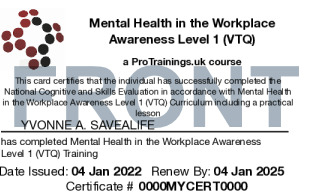 Sample Mental Health in the Workplace Level 1 (VTQ) Card Front
