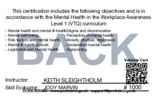 Sample Mental Health in the Workplace Level 1 (VTQ) Card Back