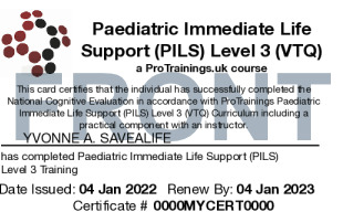 Sample Paediatric Immediate Life Support (PILS) Card Front