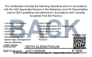 Sample Appointed Persons in the Workplace Level 2 (VTQ) Card Back