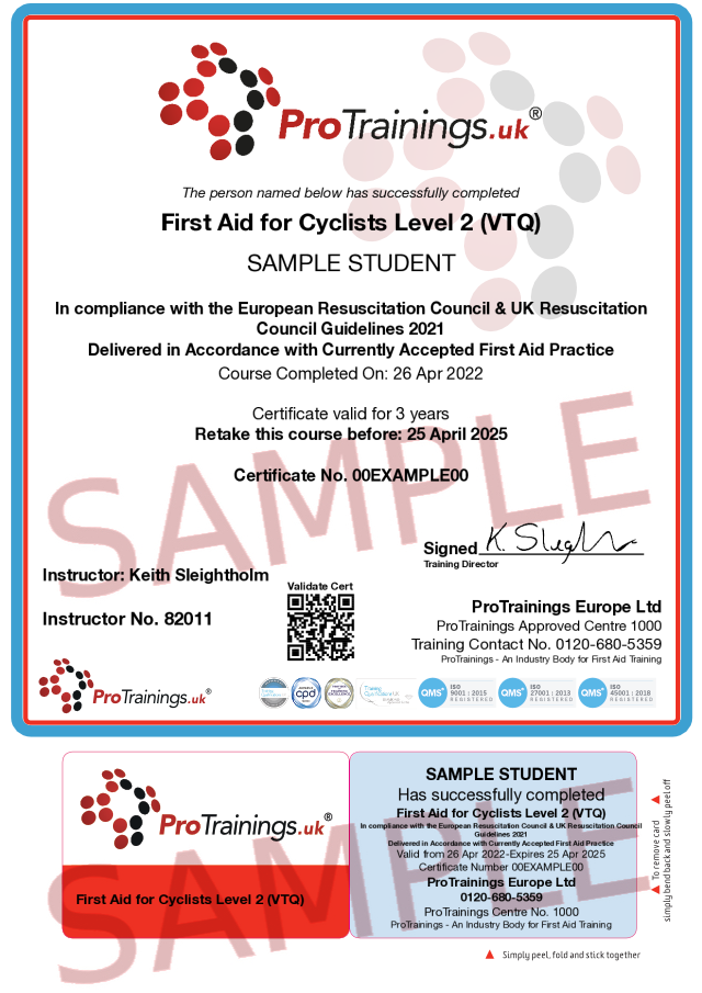 Sample First Aid for Cyclists Level 2 (VTQ) Classroom Certificate