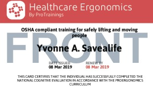 Sample Healthcare Ergonomics Card Front