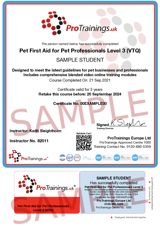 Sample Pet First Aid for Pet Professionals Level 3 (VTQ) Blended Part Two Classroom Certificate