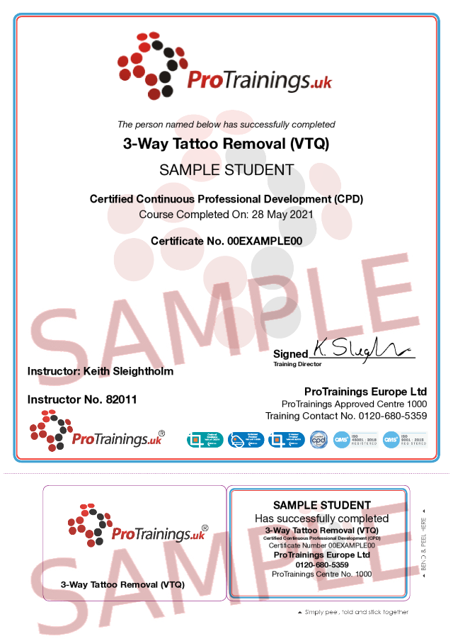 Sample 3-Way Tattoo Removal (VTQ) Classroom Certificate